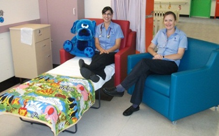Nurse Unit Manager Women's and Children's Unit Moira Tulloch (right) and Registered Nurse Venesa Gladman demonstrate two of the new sofa beds.